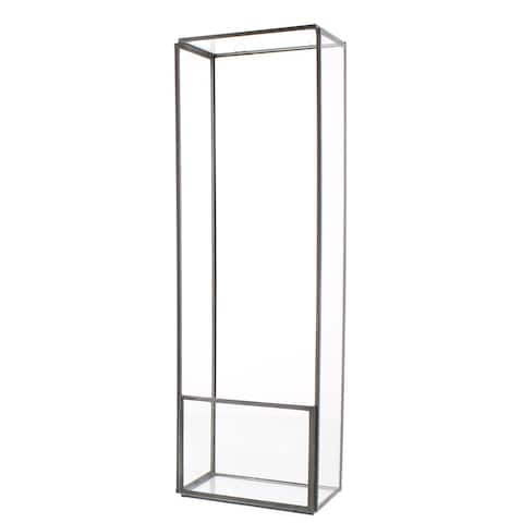 Elongated Rectangle Metal Wall Shelf with Ring Holders,Large,Clear and Gray
