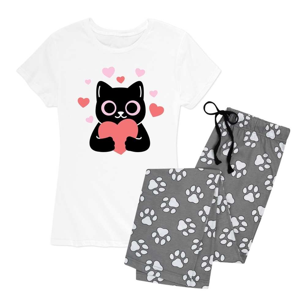 Cat with Hearts - Womens Pajama Set - White Paw Print
