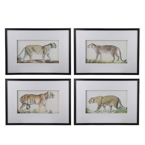 A&B Home Black Large Feline Watercolor Art (Set of 4)