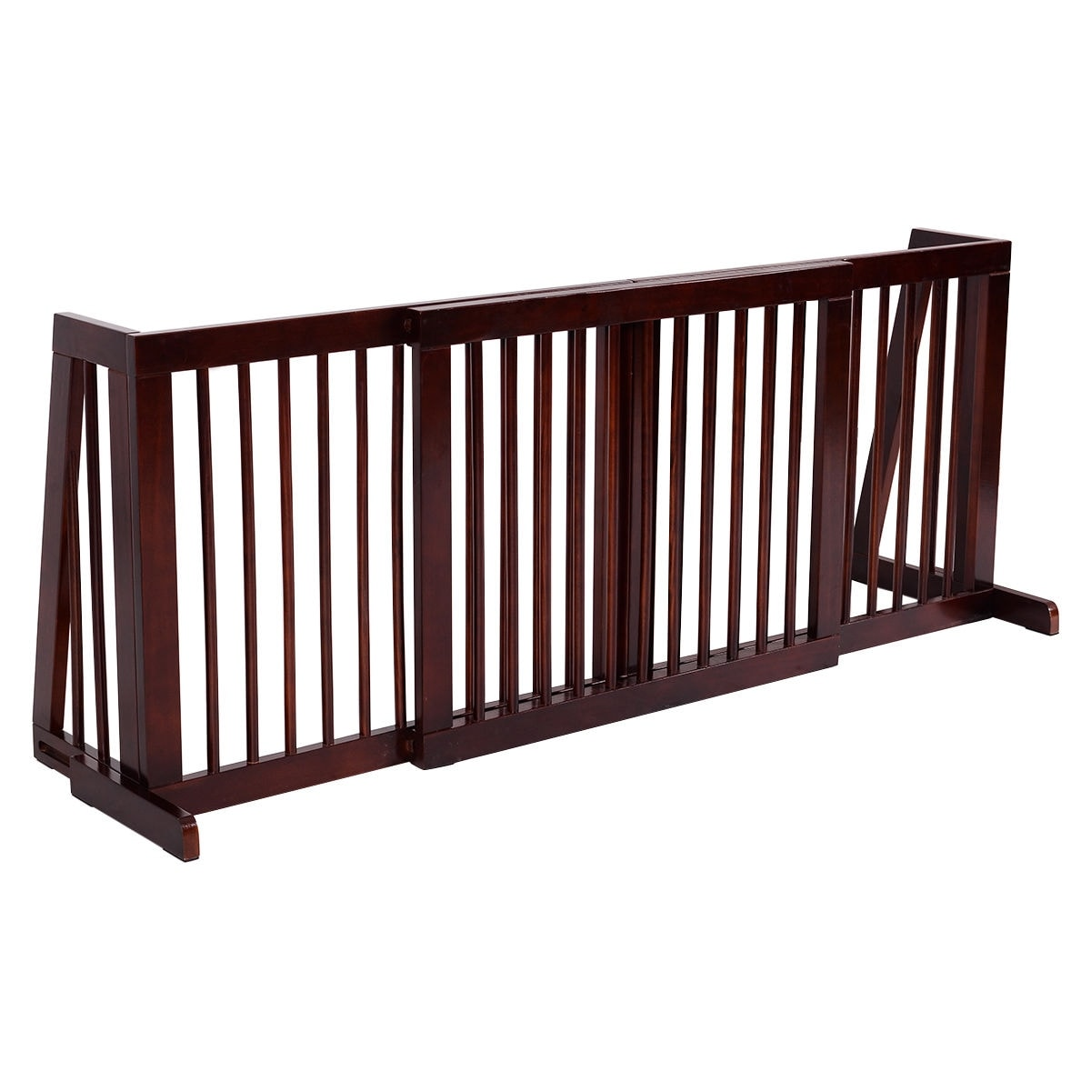 Folding Adjustable Free Standing 3 Panel Wood Fence