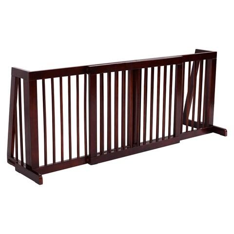 Gymax Folding Adjustable 3 Panel Wood Pet Dog Slide Gate Safety Fence - cherry