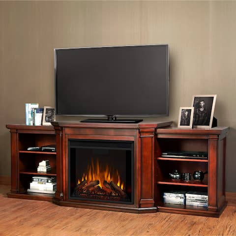 Valmont Media Electric Fireplace Dark Mahogany - 75.5 W x 21.5 D x 27.7 H