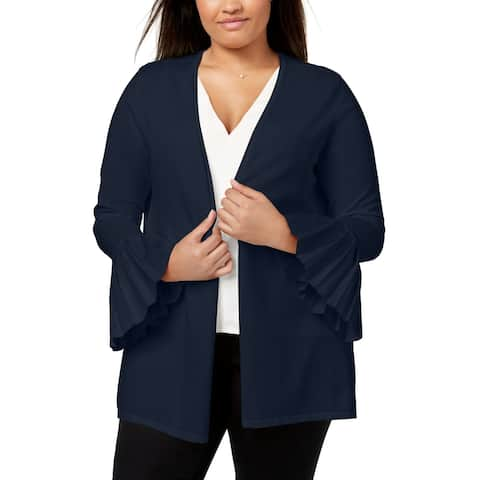 Charter Club Womens Sweater Blue Size 2X Plus Cardigan Pleated-Sleeve
