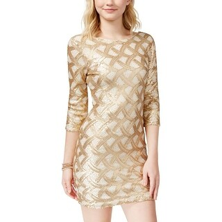 As U Wish Womens Juniors Party Dress Sequined Mini