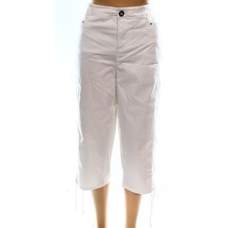Style&co. NEW White Women's Size 20W Plus Capris Cropped Lace-Up Pants