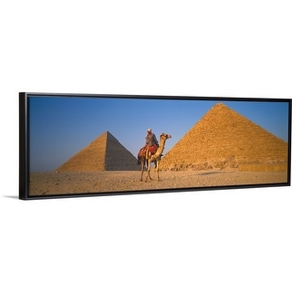 """The Great Pyramids With Camel Rider Giza Egypt "" Black Float Frame Canvas Art"