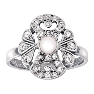 Van Kempen Art Nouveau Pearl Ring with Swarovski crystals in Sterling Silver