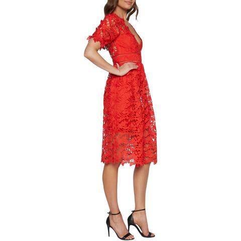 Bardot Womens Midi Dress Lace Fit & Flare - Grenadine
