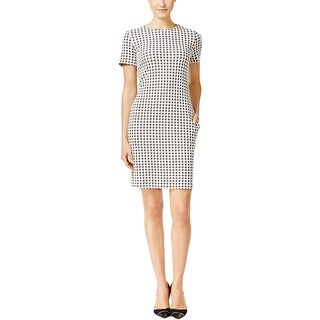 Calvin Klein Womens Petites Wear to Work Dress Houndstooth Short Sleeves