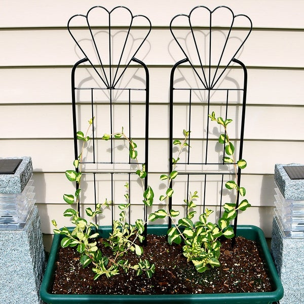 Sunnydaze 32-Inch Durable Metal Wire Flower Design Garden Trellis - Set of 2