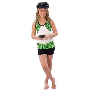 Pizzazz Girls Size 2T-16 Lime Zebra Roll Down Waist Shorts Dance Cheer