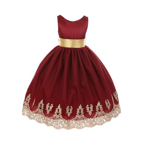 cd2dfe5b1 Chic Baby America Girls Burgundy Gold Embroidered Junior Bridesmaid Dress