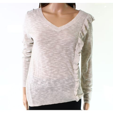 Heather B Gray Womens Size Small S Ruffle Knitted V-Neck Sweater