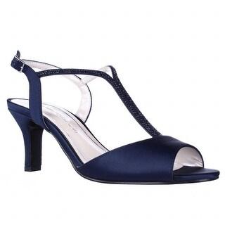 Caparros Delicia Sparkle T-Strap Peep Toe Dress Sandals, Navy