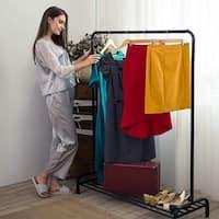 LANGRIA Premium Metal 57.1 inchs Clothing Garment Rack, Black