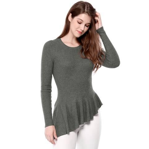 Women's Long Sleeve Ribbed Knit Ruffle Hem Peplum Top