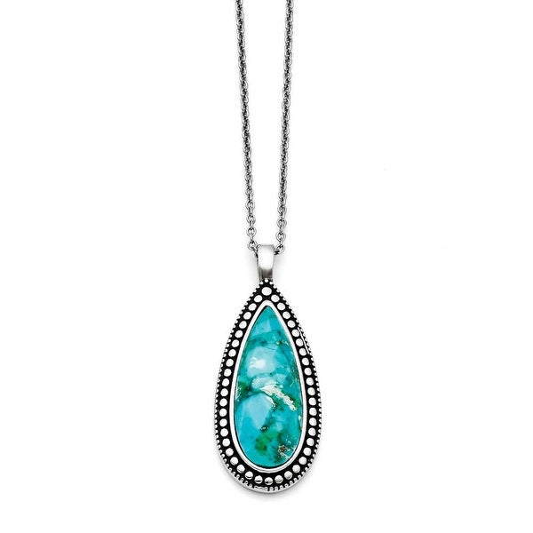 Chisel Stainless Steel Antiqued Imitation Turquoise Teardrop Necklace (1 mm) - 18 in