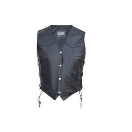 Men Classic Leather Motorcycle Biker Vest Embossed Eagle Black by Xtreemgear MBV109