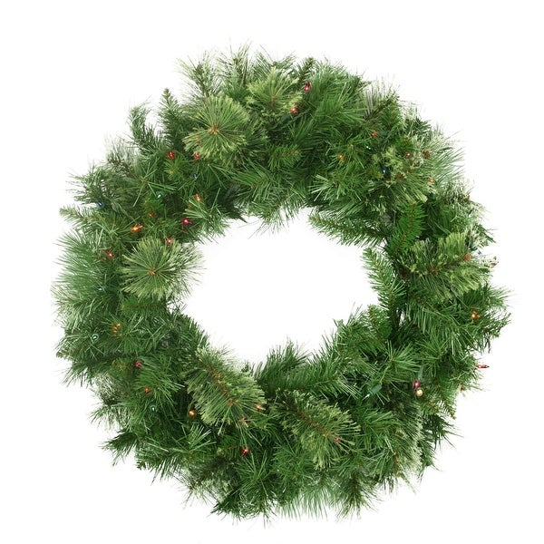 "24"" Pre-Lit Mixed Cashmere Pine Artificial Christmas Wreath - Multi-Color Lights"