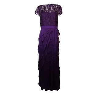 Adrianna Papell Women's Illusion Lace Tiered Chiffon Gown - 10