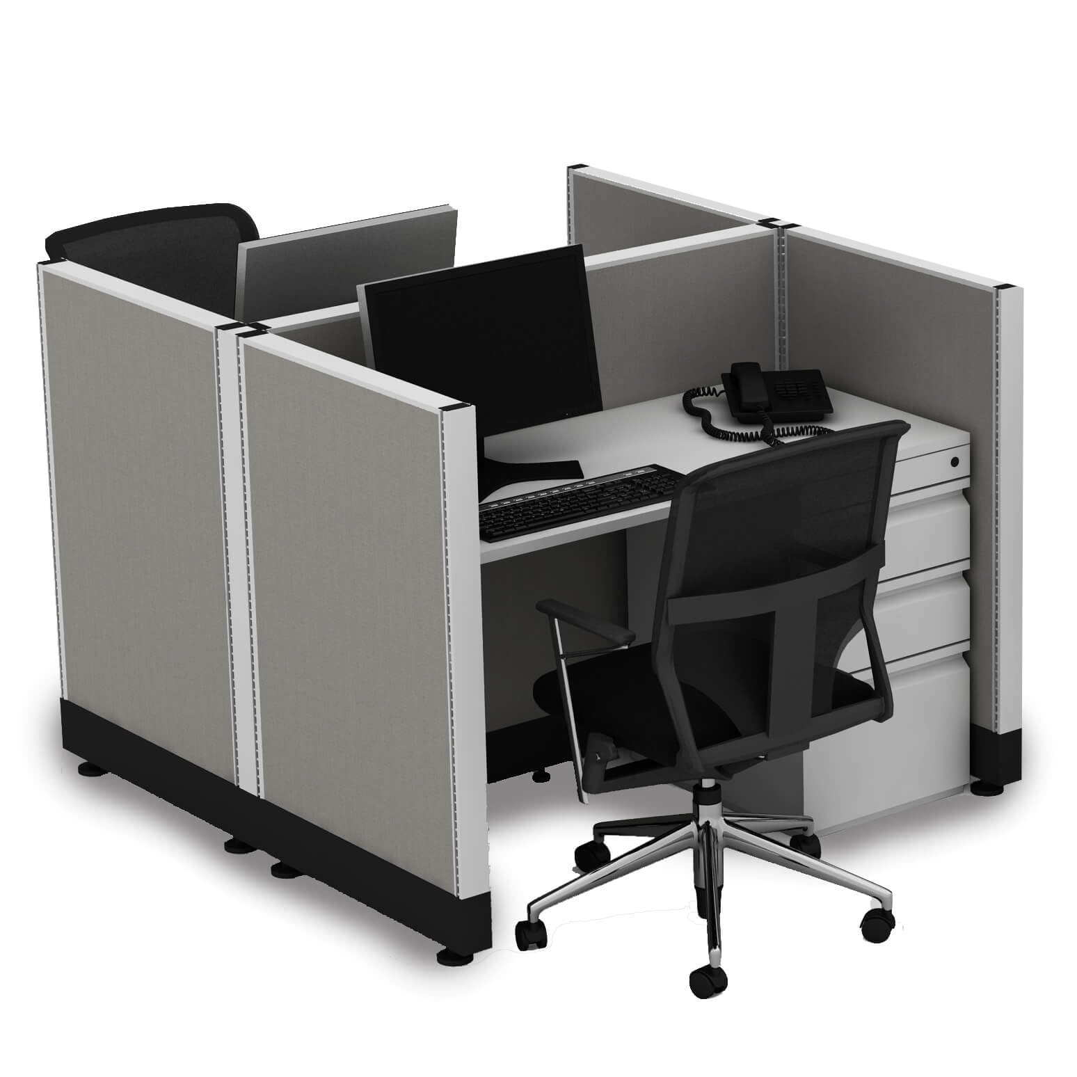 Small Cubicles 39H 2pack Cluster Powered (2x4 - Espresso Desk Silver Paint - Assembly Required)