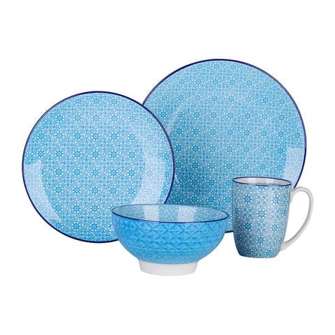 vancasso Macaron 4 Piece Multi Pattern Ceramic Dinnerware Set, Service for 1