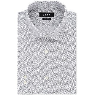 Dkny Mens Abstract Print Button Up Dress Shirt