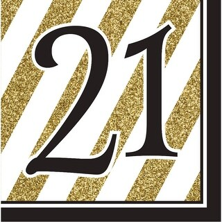 "Pack of 192 Gold and White Striped with Black ""21"" and Border 2-Ply Party Lunch Napkins"