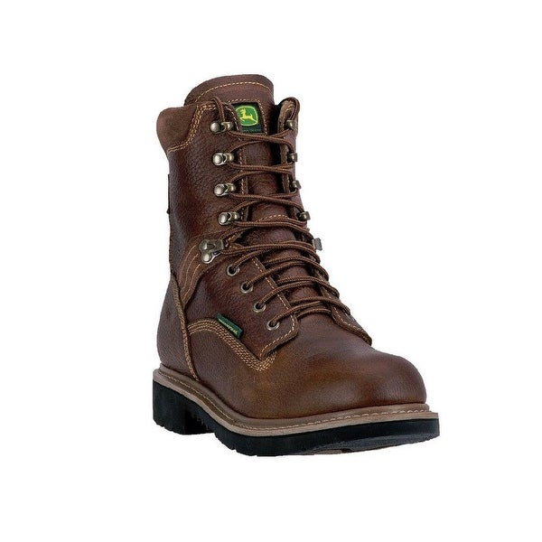 "John Deere Western Boots Mens 8"" Lace Up Waterproof ST EH Brown"