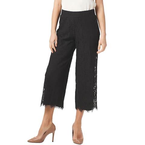Isaac Mizrahi Live! Womens Floral Lace Knit Culotte Pants XX-Small Black A353075