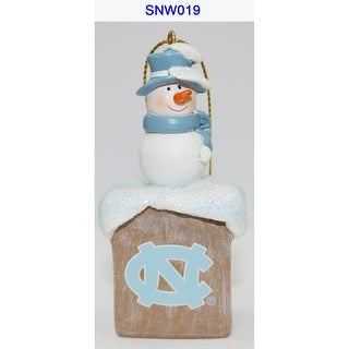 """3.5"""" White Snowman and Blue Scarf Design Christmas Ornament"""