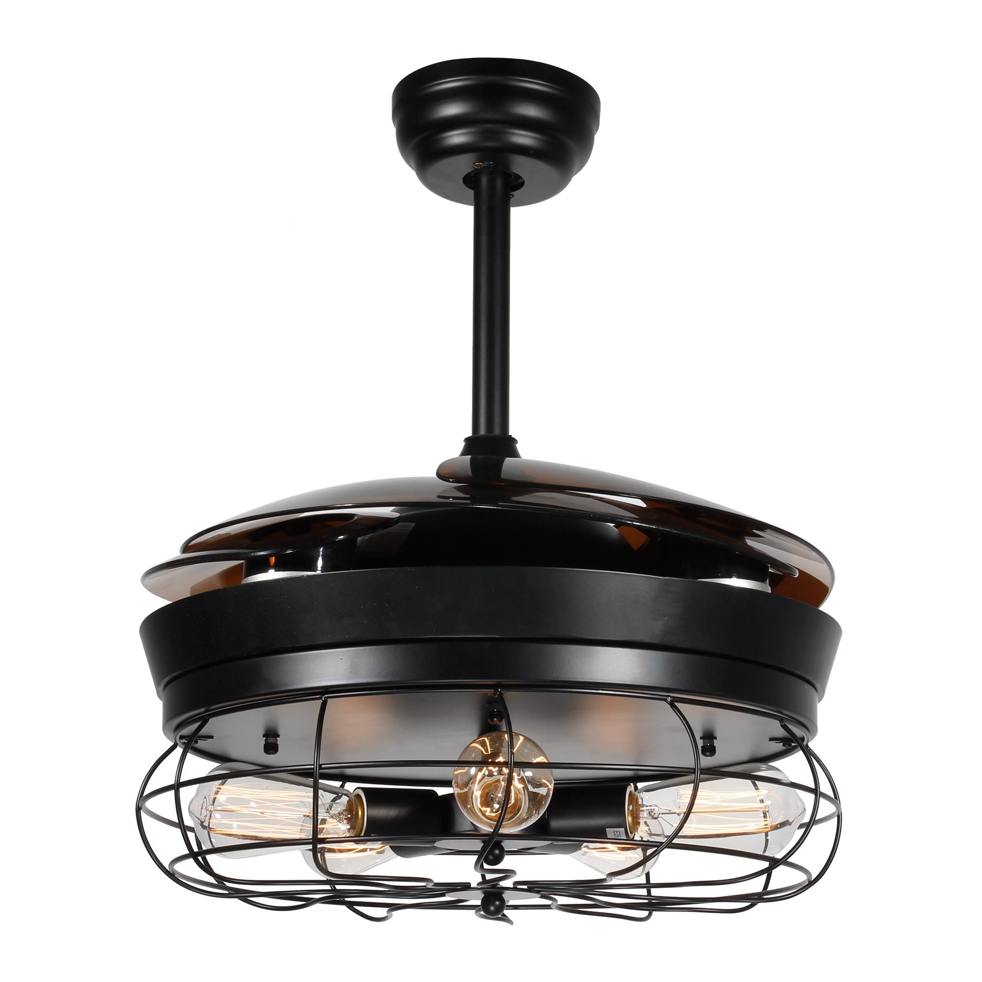46 Inch Foldable 4 Blades Cage Ceiling Fan With 5 Light