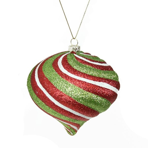 """3.5"""" Merry & Bright Red, White and Green Glitter Swirl Shatterproof Christmas Onion Ornament - RED"""