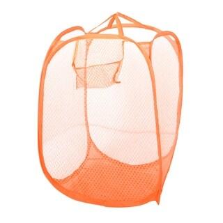Unique Bargains Orange Meshy Design Folding Tidy Laundry Bag Clothes Basket