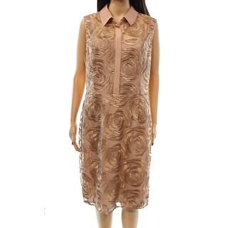 Rachel Roy NEW Pink Women's Size 10 Rose Embroidered Mesh Shirt Dress
