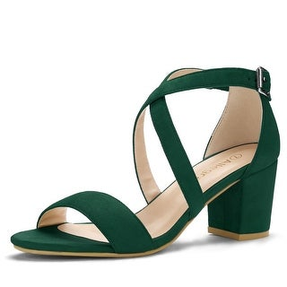 Women Open Toe Cross Strap Mid Block Heel Sandals