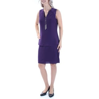 SLNY $79 Womens New 1060 Purple W/necklace V Neck Sleeveless Sheath Dress 6 B+B