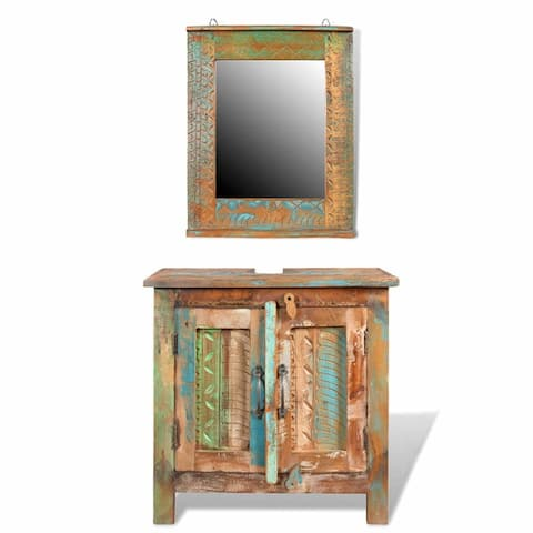 vidaXL Reclaimed Solid Wood Bathroom Vanity Cabinet Set with Mirror