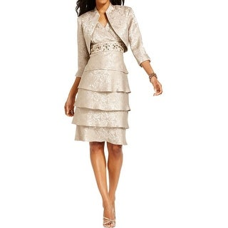 R&M Richards Womens Plus Dress With Jacket 2PC Embellished