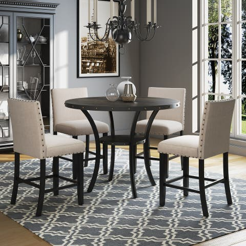 Corvus Riley 5-piece Counter Height Upholstered Dining Set with Nailhead Trim
