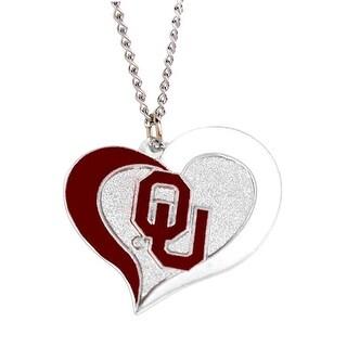 Oklahoma Sooners Swirl Heart Necklace NCAA Charm Gift