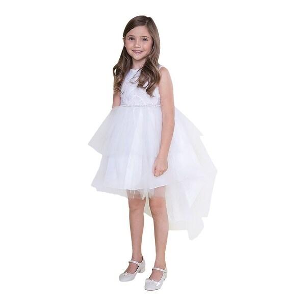 74908fa67d Girls White Feather Hi-Low Tulle Junior Bridesmaid Dress