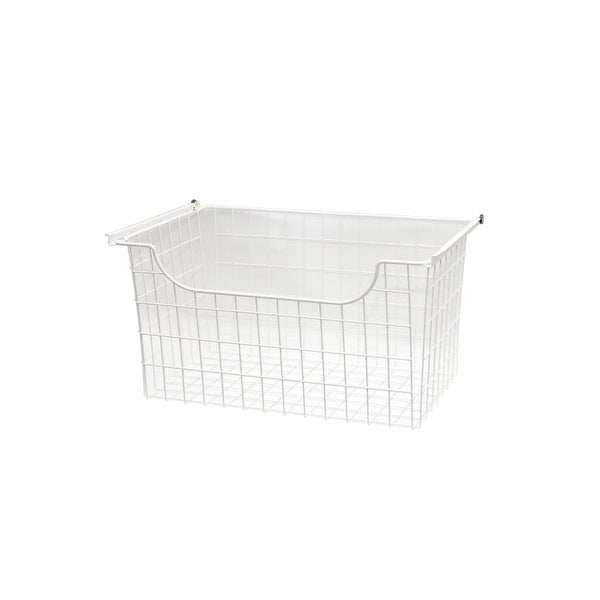 """Easy Track 1312 12"""" Tall Wire Basket for Easy Track Closet System - White"""