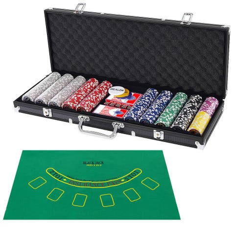 Costway Poker Chip Set 500 Dice Chips Texas Hold'em Cards with Black