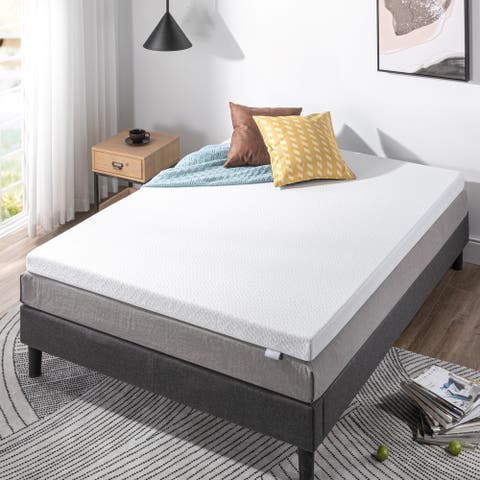 Priage by ZINUS 3 Inch Ultra Cool Gel Memory Foam Mattress Topper with Cooling Cover - White