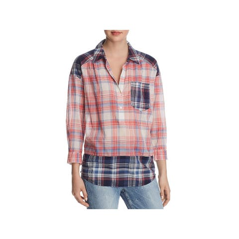 Joie Womens Casual Top Plaid High-Low