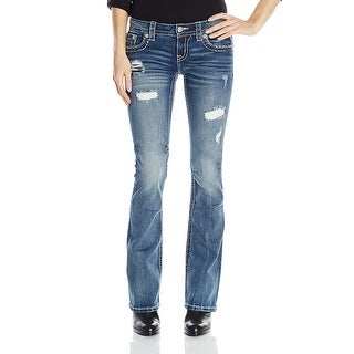 Miss Me Embellished Ripped Signature Bootcut Jeans Pants - 29