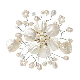 Link to Handmade Beautiful Mix of Light Shell, Crystal & White Pearl Flower Blossom Brooch Pin (Thailand) Similar Items in Charms & Pins