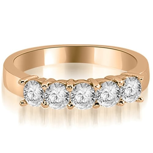 1.00 cttw. 14K Rose Gold Round Diamond Classic 5-Stone Prong Wedding Band