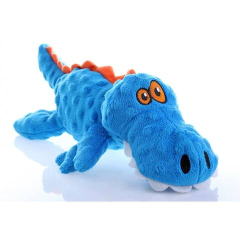 GoDogAC Q774019 Checkers Blue Gator Dog Toy with Chew Guard Technology, Large